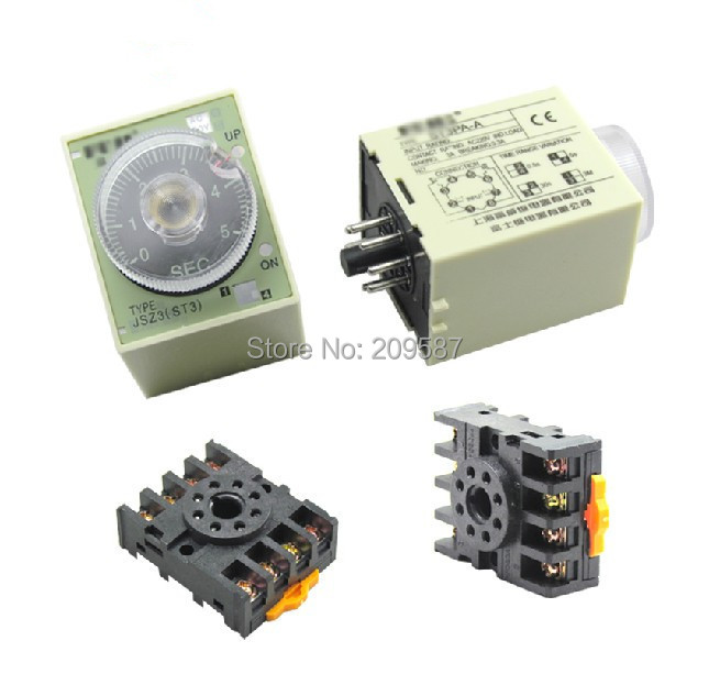 220VAC power off delay timer time relay 0-3 minutes ST3PF & Base(China (Mainland))