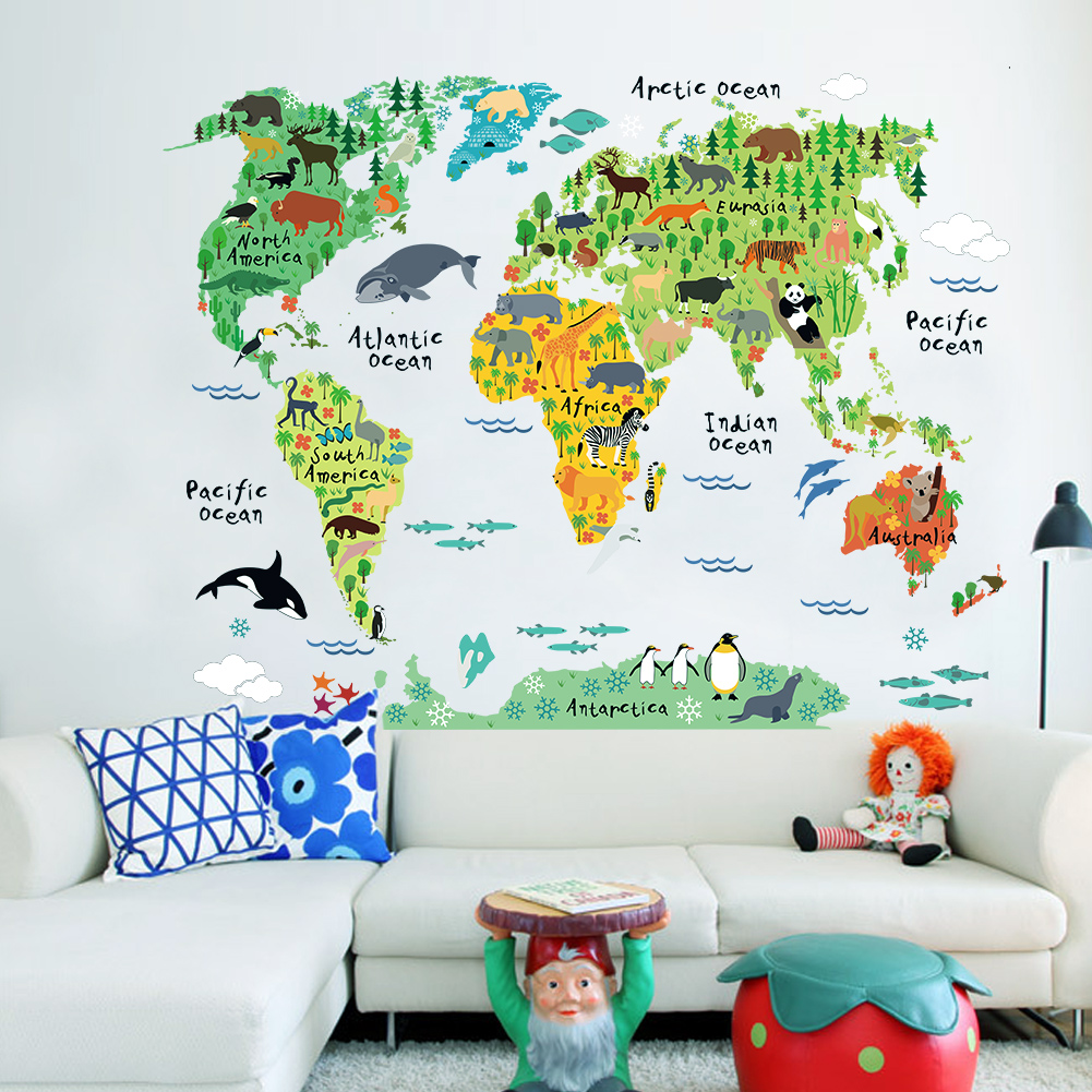 Wall Decor Stickers World Map : Great colorful animal world map kids room decor wall