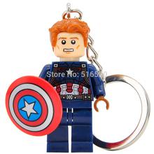 Marvel Super Heroes Captain America 3 Minifigures Keychain For Key Custom Ring DIY Key Chain Building Block Model Figure Toys