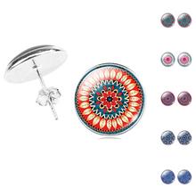 Silver Plated Jewelry Woman Mandala Flower OM Symbol Buddhism Zen Charm Glass Cabochon Vintage Stud Earrings(China (Mainland))