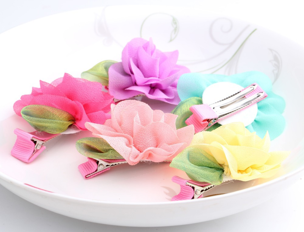 Hot Sale Summer Style chiffon Wraped clip barrettes Flower and Leaves Children Hair Accessories infant hairpins Baby Hair Clips(China (Mainland))