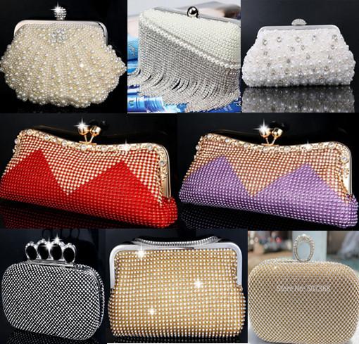 2015 Pearl evening bags rhinestone beaded clutch evening bag finger ring women wedding bridal/bridesmaid shoulder ladies bag(China (Mainland))