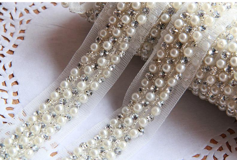 10Yards 4cm Pearl Rhinestone Beaded Lace Trim Vintage Mesh Fabric Paillette Chemical Lace Wedding Dress Dentelle Applique AC0206(China (Mainland))