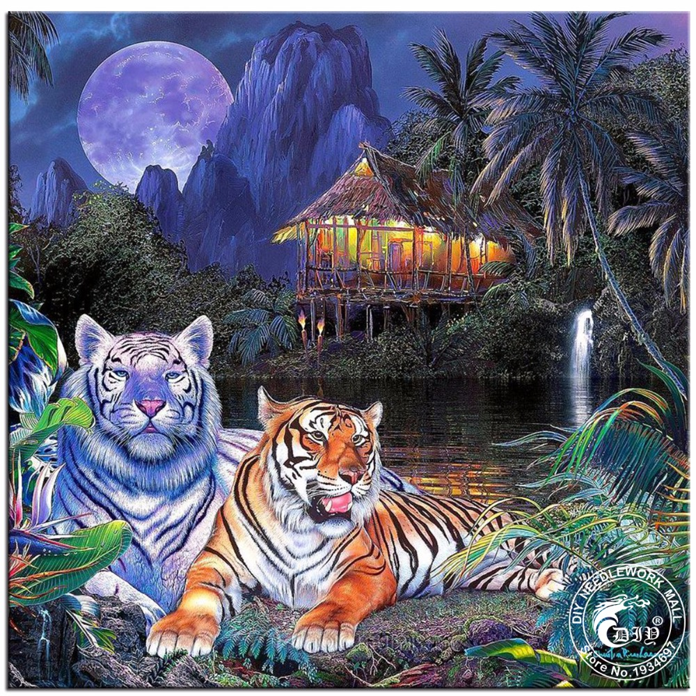Full Drill Diamond Embroidery Tigers In The Tropics Needlework Cross Stitch Round Resin Diamond Painting Wall Picture Needlework(China (Mainland))
