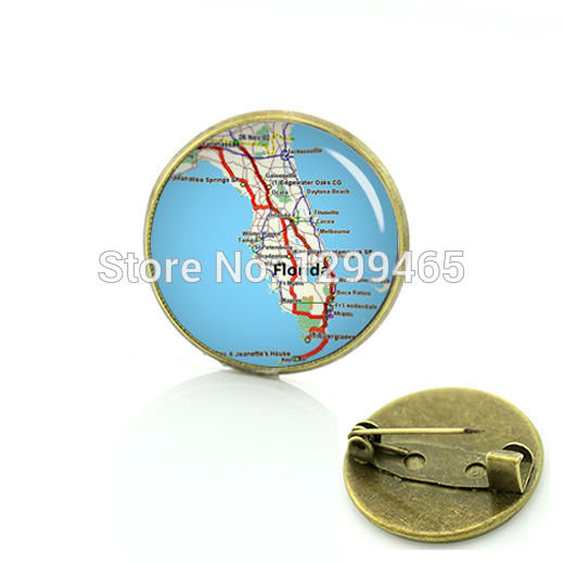 Novelty Interesting Keepsake Formal Wear Necktie badge Exquisite Florida map pin New Elegant Design brooches C 936(China (Mainland))