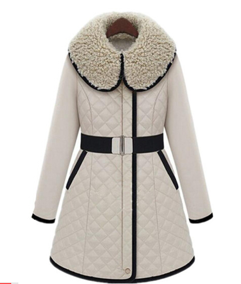 2015 New Women Winter Jacket Cotton Padded Long Famale Parka Big Faux Fur Collar Fashion Brand Coat Zipper Overcoat Outwear BELT - qing feng store