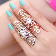 Fashion silver/gold exaggerated metallic hollow inlaid crystal anel feminino bague femme rings for women F501