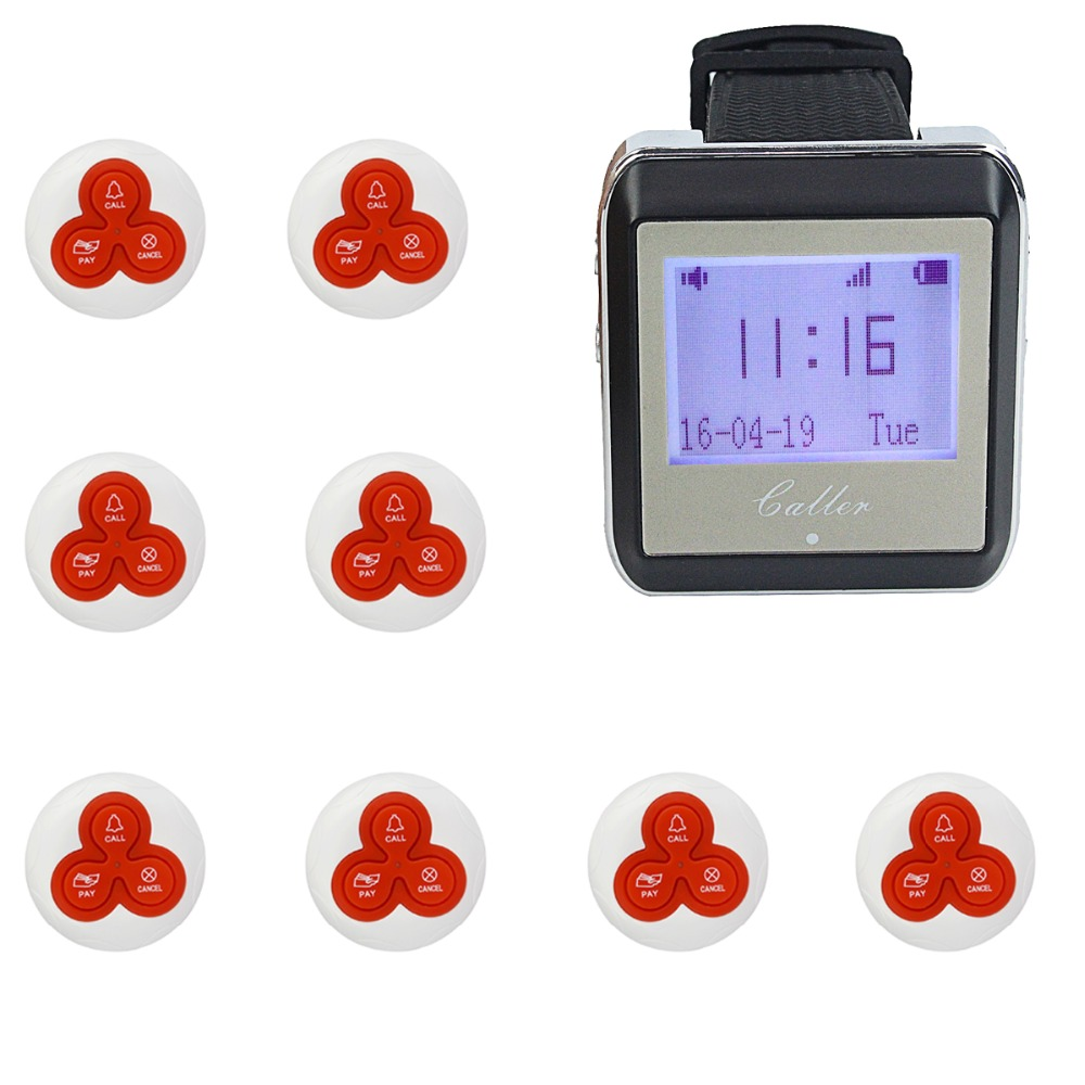 1 Watch Pager Receiver+8 Call Button 433MHz Wireless Restaurant Calling System Nurse Waiter Call Pager System F4399(China (Mainland))