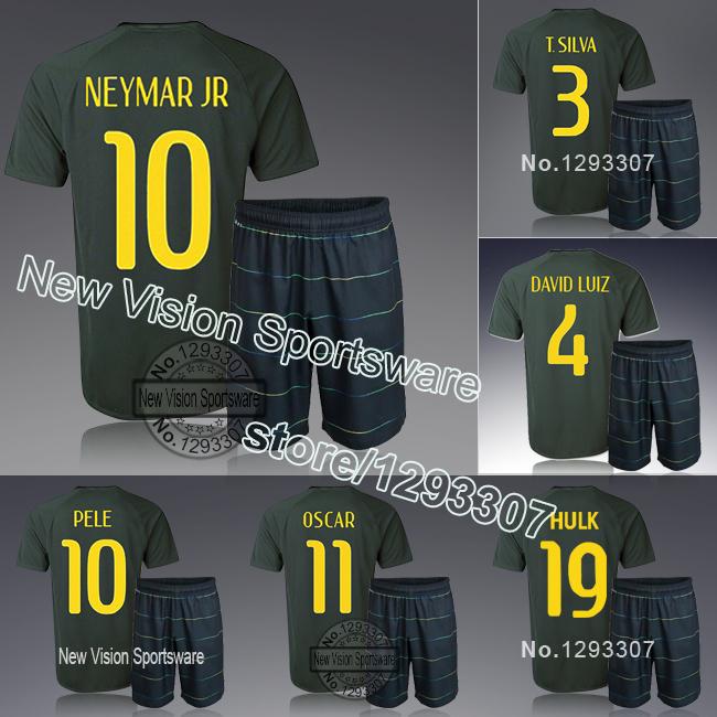 2014 Embroidery Black Neymar Jr Ronaldinho David Luiz Pele Oscar Football Kit Uniform Men Sports Shirt Outfit Soccer Jersey Set(China (Mainland))