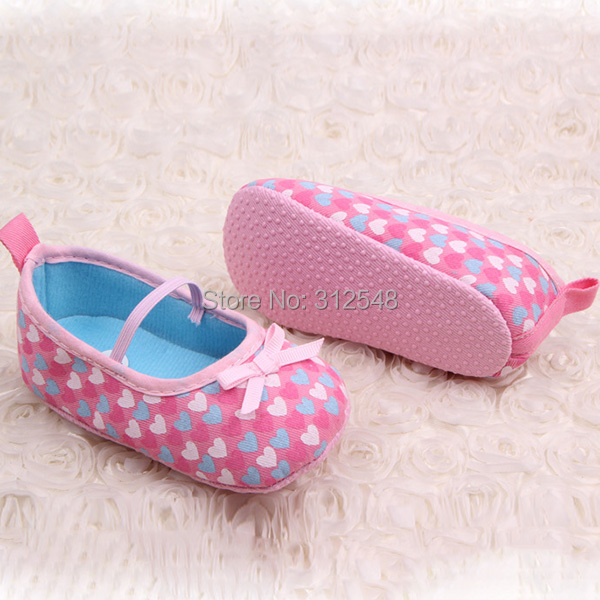 New Girls Kids Sweet Heart Newborn Baby Shoes Canvas Mary Janes Polka Bow Prewalker Shoes Princess Ballet Dres(China (Mainland))