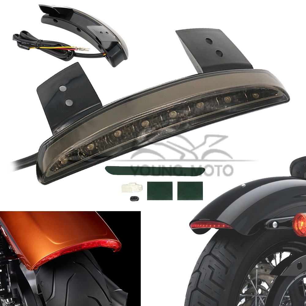 12V Chopper Motorcycle Rear Fender Edge Red 8 LEDs LED Tail Light Brake Running for font