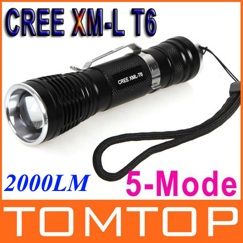 5 Modes CREE XM-L T6 2000LM Zoomable LED Flashlight Torch Zoom Lamp Light LED Torch(China (Mainland))