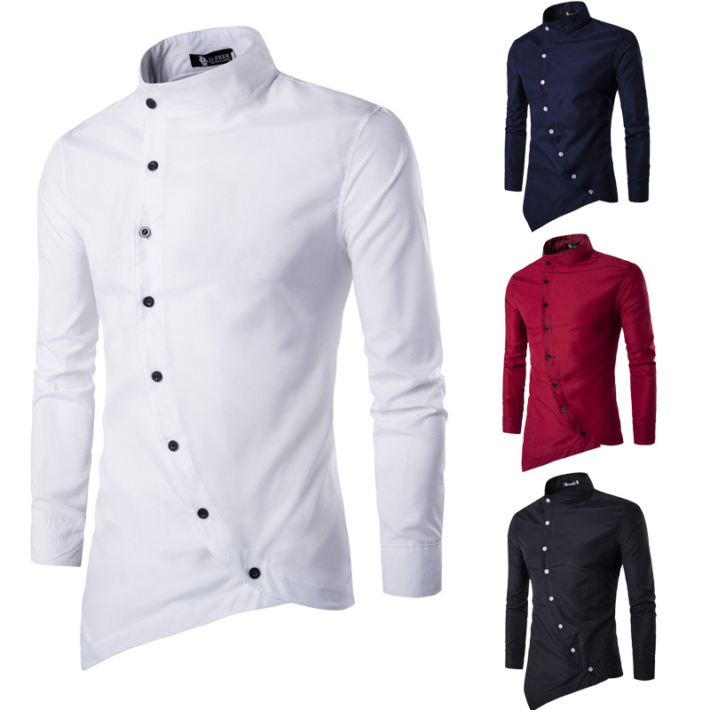 Online cheap wholesale men luxury long sleeve shirt casual for Cheap slim fit shirts