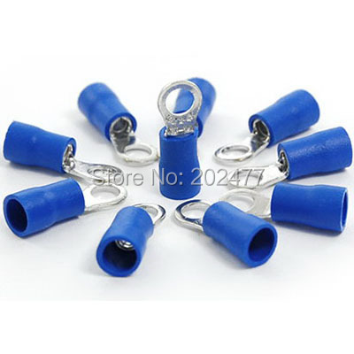 1000pc/lot RV2-4S PVC Sleeve Insulated Ring Terminals Cable Lug Connector