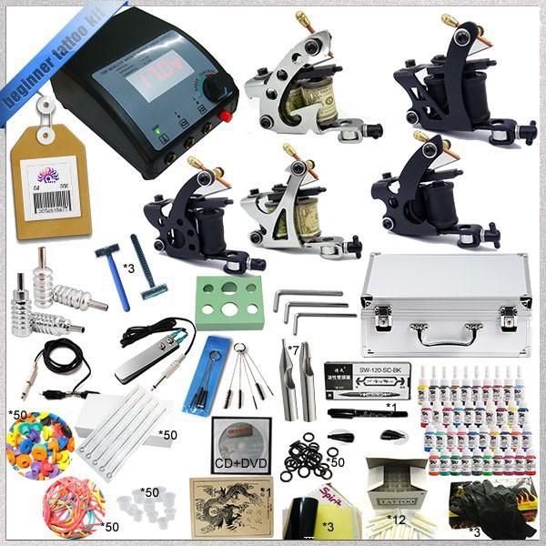 Professional Complete Tattoo Kit 5 Guns Rotary Machine Equipment sets +Ink +Power Supply +Needle + CD for Beginners Body Art #T(China (Mainland))