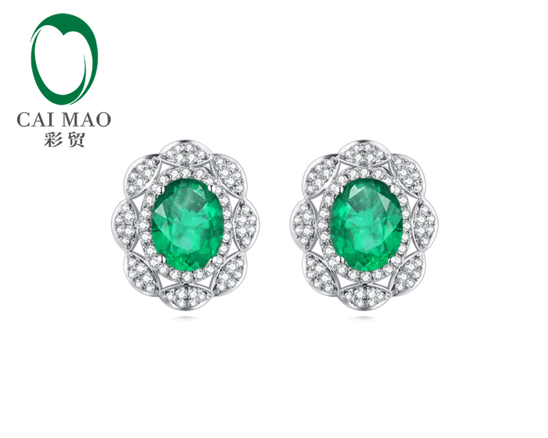 CaiMao 14KT/585 White Gold 1.68ct Emerald AAA  0.48 ct Round Cut Diamond Engagement Earrings Jewelry<br>