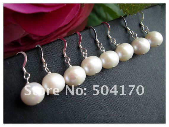 Bridesmaid Gifts , Bridesmaid Pearl Earrings Sterling Silver Hooks Wedding Favor Holiday Favor ER026(China (Mainland))