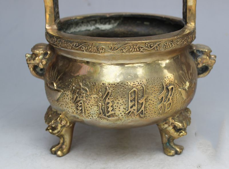 Fortune binaural three-legged tripod censer copper furnace home furnace Taoist immortal