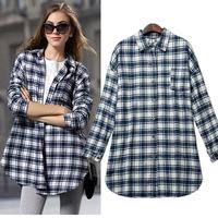women's model long-sleeve free size long shirt design brief all-match plaid print top blusinhas femininas 2014