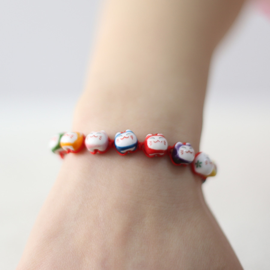 friendship bracelets color ceramic Lucky cat cute red rope bracelet jewelry jewelry lovers this animal year bracelets & bangles(China (Mainland))