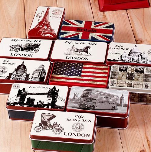 Retro The British Style Mini Metal Tin Soap Storage Box Creative Candy Gift Box Room Decor(China (Mainland))