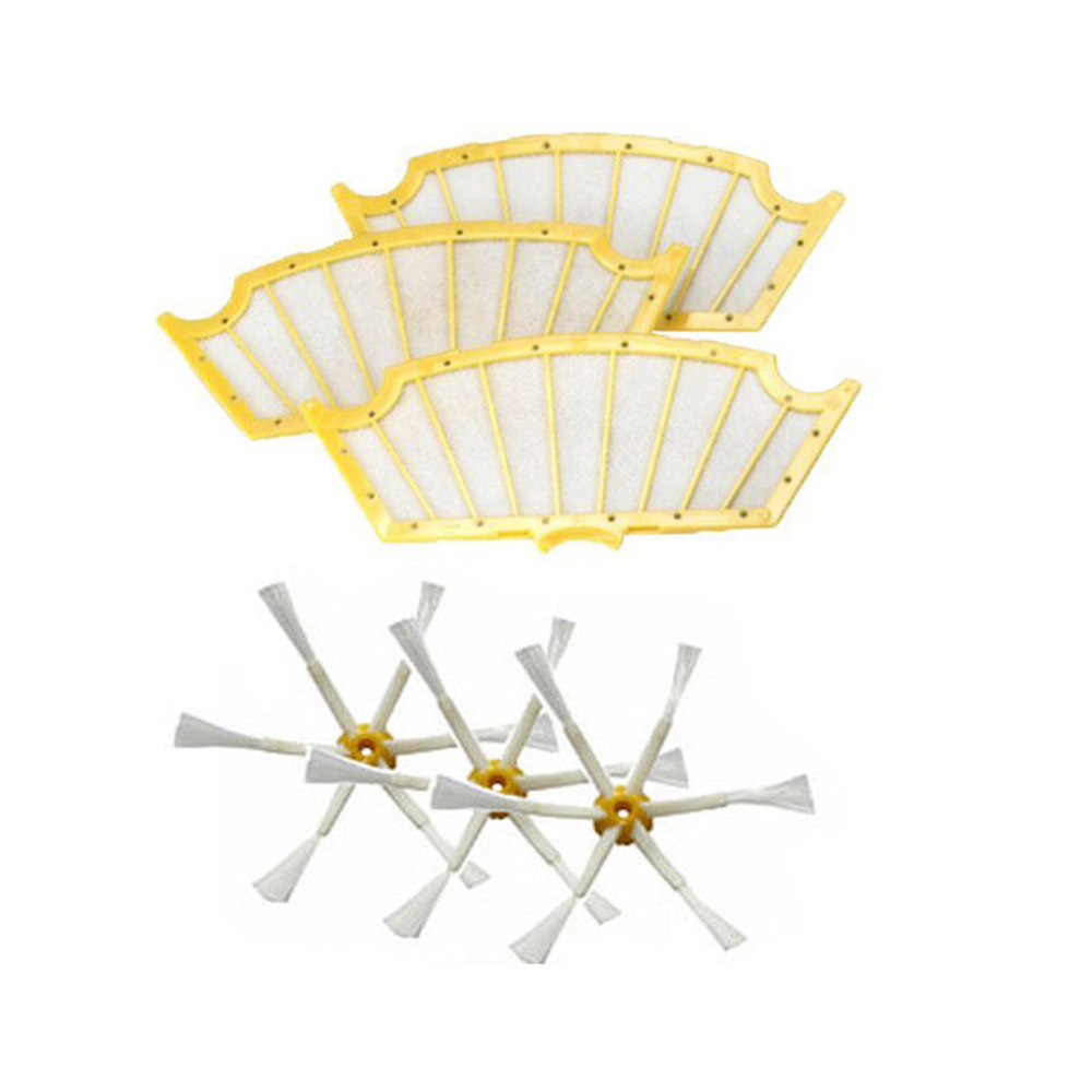 3 pack Filters+ Side Brush 6 Arms for iRobot Roomba 500 Series 530 550 560 570(China (Mainland))