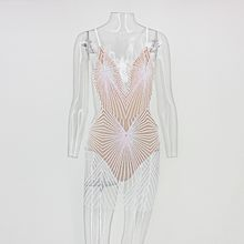 Ohvera siatki sukienki cekinowe na przyjęcie kobiet seksowna sukienka bodycon z odkrytymi plecami Mini biały czarny złoty czerwony Spaghetti pasek letnia sukienka 2018(China)