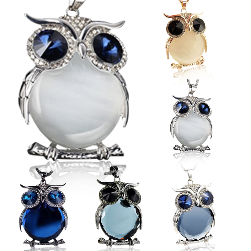6 Colors New Fashion Charms Women Jewelry Crystal Necklaces Rhinestone Gem CZ Diamond Owl Long Chain Necklaces&Pendants A178(China (Mainland))