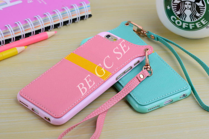 PU leather hang rope strap case back cover for iphone 6 Plus 4.7 5.5 5 5S 4S 4 with credit card Slots Black Pink Blue Purple(China (Mainland))