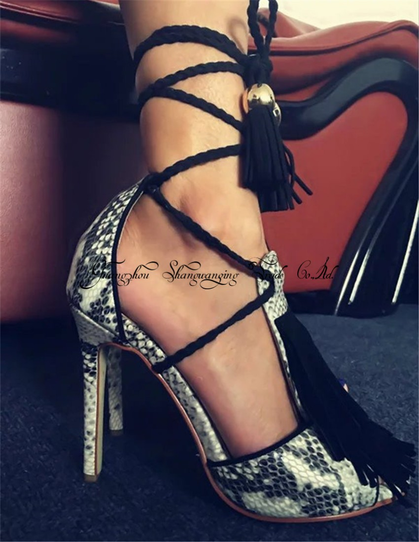 New Fashion Python Leather Women Lace Up Sandals T-Strap Fringe Sexy Peep Toe High Heels Ladies Elegant Dress Shoes Plus Size