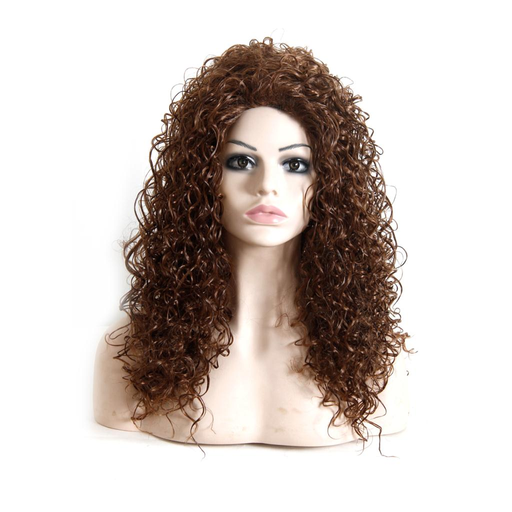 "18""Women Long Curly Wig Heat Resistant African American Wig For Black Women Realistic Natural Lolita Wig Cheap Synthetic Hair(China (Mainland))"