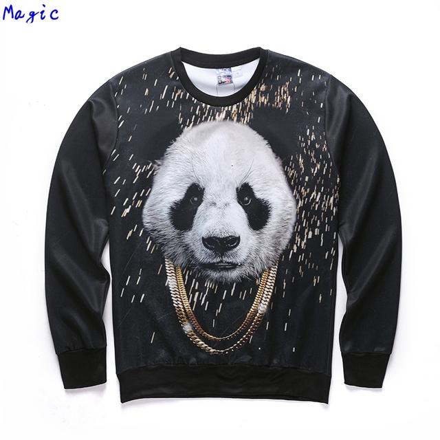 [Magic] 2016 новый стиль Прохладный Золотая цепь панда 3d толстовки Мужские кофты с длинным рукавом О-Образным Вырезом футболка тонкий пуловеры S-2XL