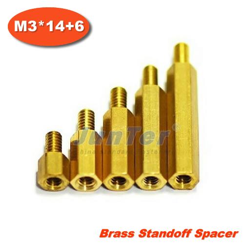 500pcs/lot Brass Standoff Spacer M3 Male x M3 Female -14mm Thread 6mm<br><br>Aliexpress