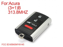 FREE SHIPPING 2pcs/lot smart key 4 button remote key 313.8mhz FCCID: M3N5WY8145 FOR ACURA(China (Mainland))