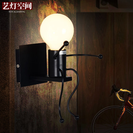 2/pcs American Creative Wall Lamp Contracted Wrought Iron Wall Lights Personality Little People Wall Lamps Art Deco Lighting <br><br>Aliexpress