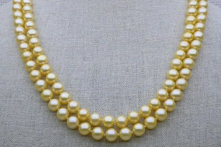 2STD 9-8mm AAA+ round golden yellow akoya pearl necklace 14K solid gold(China (Mainland))
