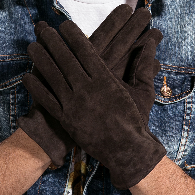 KAKAC 2016 New Winter Long Genuine Leather Gloves Men Suede Black Warmer Touch Screen Gloves Brand Goatskin Mittens Luvas GSM023(China (Mainland))