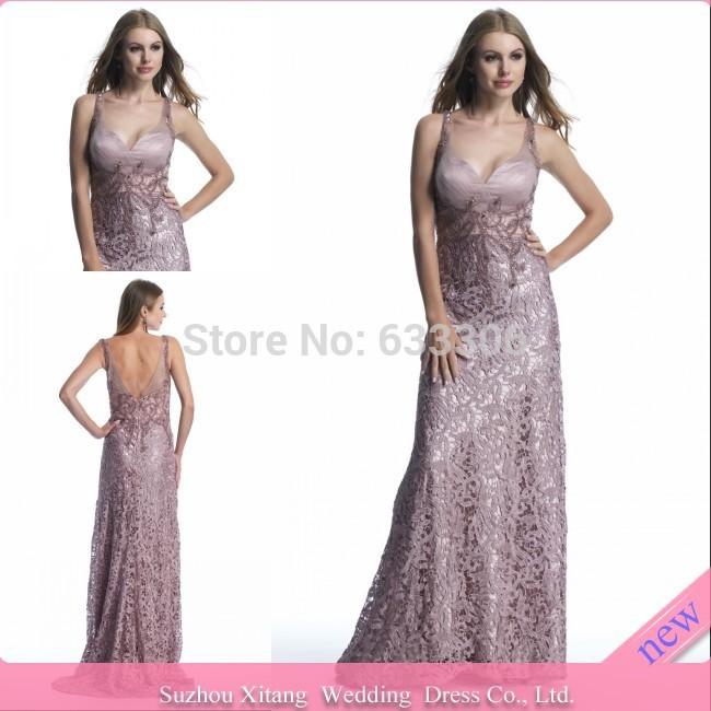 Vestido De Fiesta Pink A-line V-neck Lace Backless Beaded Applique Floor length evening dresses Gown - Cloudup store