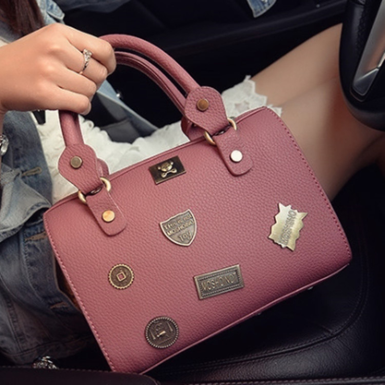 2016 Fashion Women Bag Handbag Personality Single Shoulder Bag Boston Ladies Leather Tote Bags(China (Mainland))