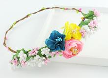Multi color Handmade Hydrangen Flower Tiaras Bridal Hair Accessories Woman Girls Flower Headwear Party Prom Flower Crowns