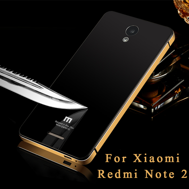 """2016 New Slim Luxury xiaomi redmi note 2 Case Aluminum Metal Frame + Tempered Glass Battery Cover Case For redmi note2 5.5"""" case(China (Mainland))"""