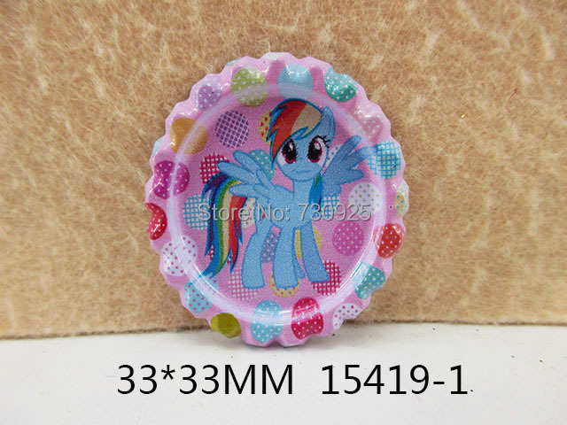 5Y15419 freeshipping 33*33mm cartoon pony pattern flattened bottle caps diy hairbow hair bows accessories mini order$ 6.00(China (Mainland))