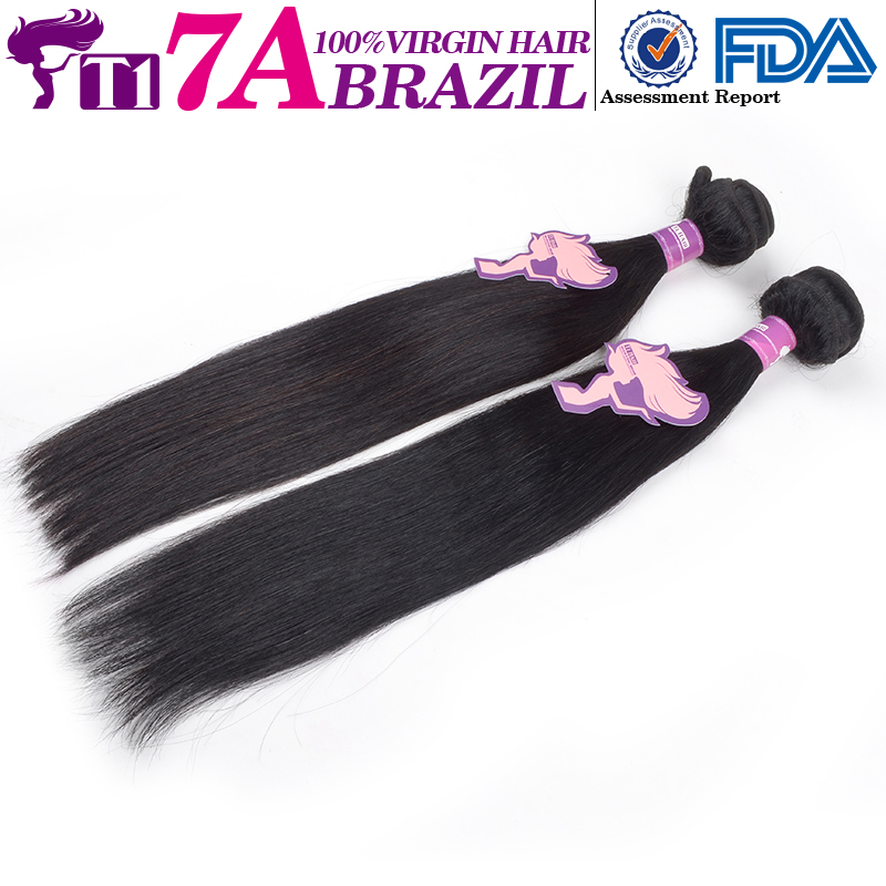 T1 7A Brazilian Virgin Hair Straight Unprocessed Brazilian Hair Weaving Soft Remy Human Hair Weft Bundles Free Ship By DHL(China (Mainland))