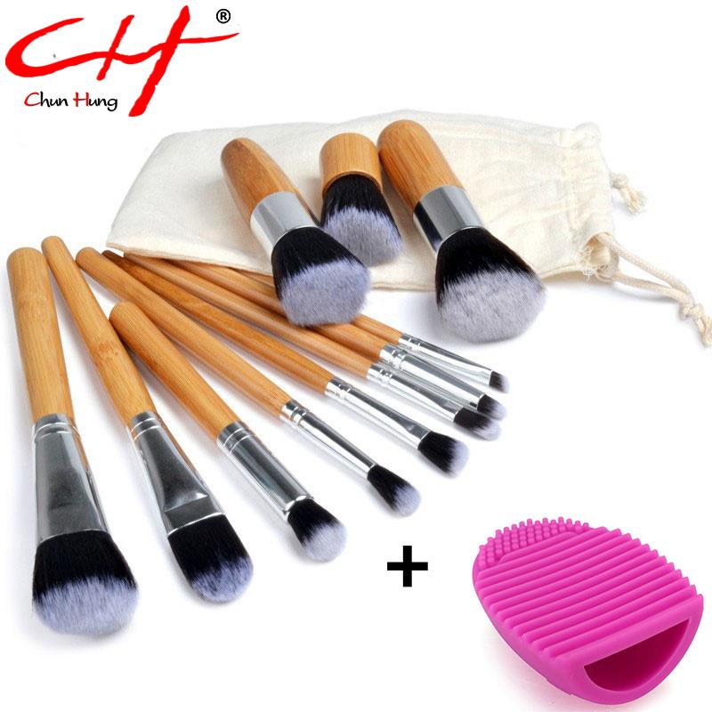 11 Pcs Makeup Brushes Professional Make Up Brushes Bamboo Wood Fiber Brush Set Makeup Tools Eyebrow Eyeliner Powder Brushes(China (Mainland))