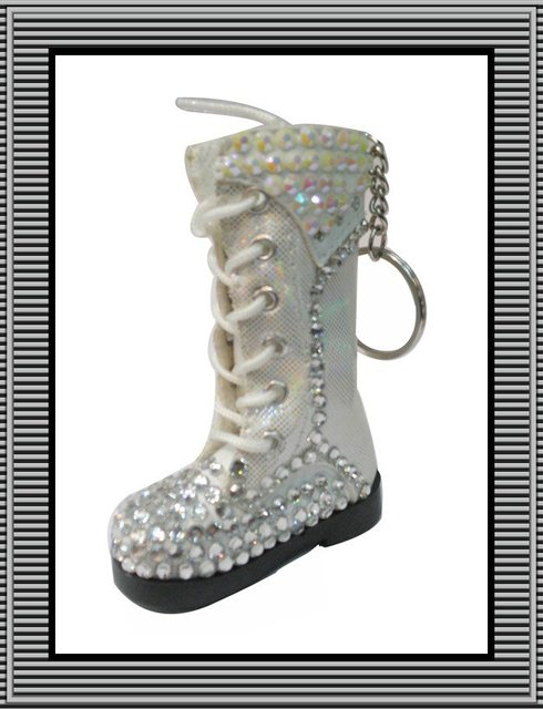 Fast Free shipping ,new arrival hot selling fashion shoe keychain with white AB and white rhinestone ,120pcs/lot