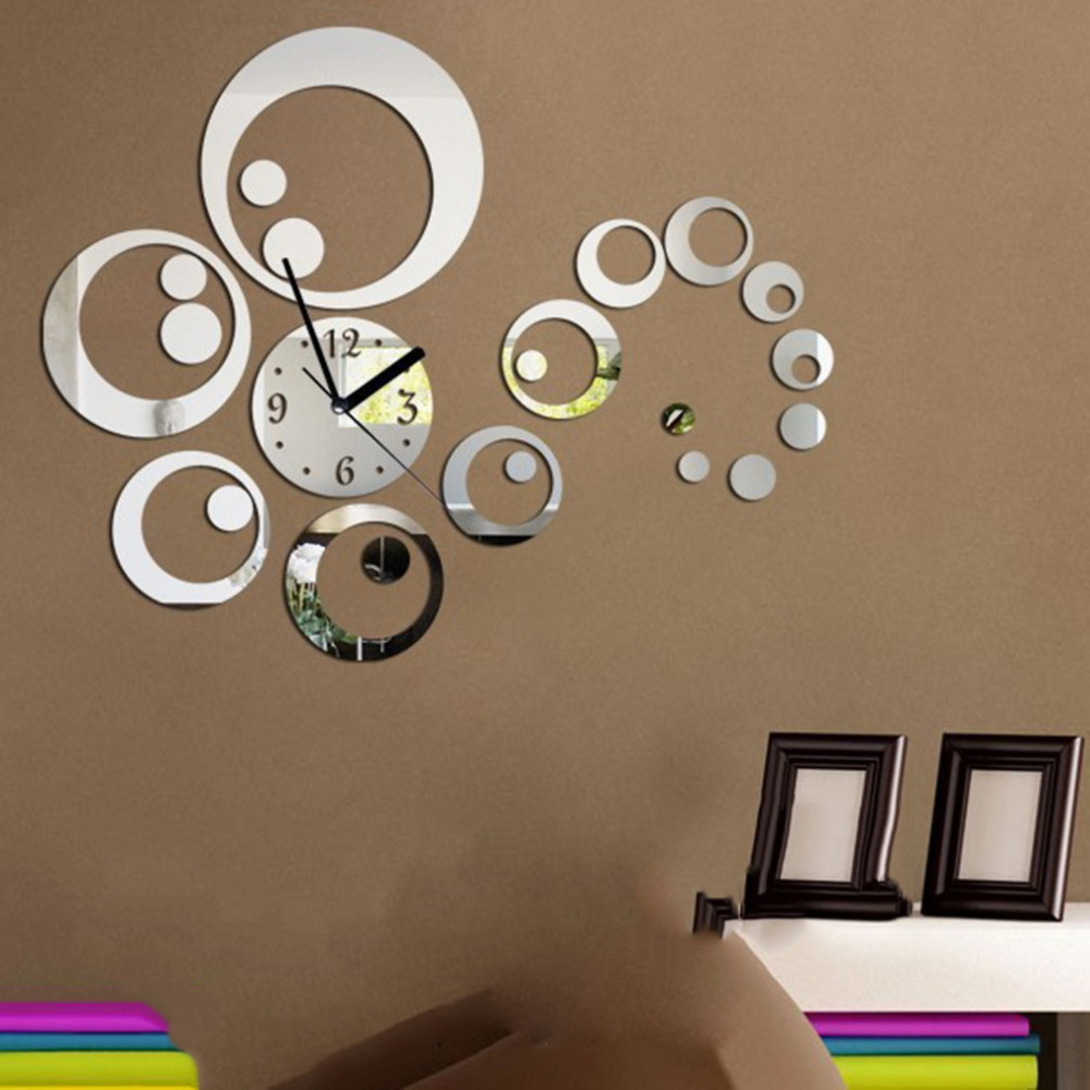 1Set Hot Diy Home Decoration Fashion Mirror Surface Of The Mirror Wall Stickers Clock Living Room Wall Clock 3 Colors Worldwide(China (Mainland))