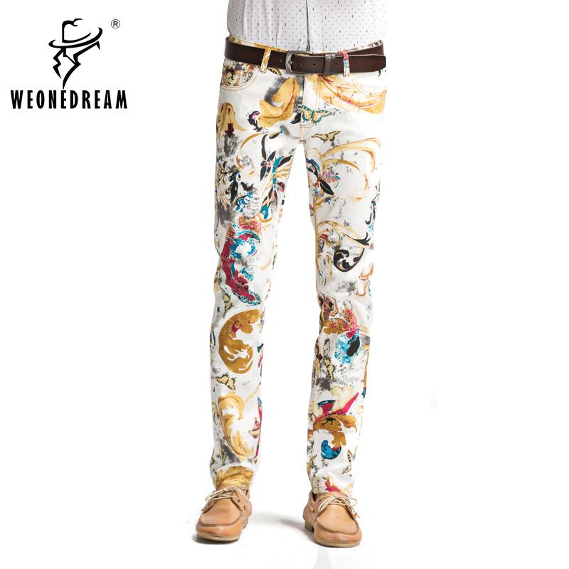 2016 Summer Style Men Printed Jeans Man Causal Painted Printing Skinny Elastic Jeans Male European Hip Hop Demin Long Pants(China (Mainland))