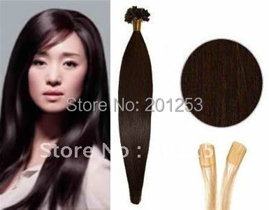 20 Keratin Glue U Tip/Nail Tip Hair Extensions, 100% Remy Human Hair Extension, Dark Brown #2, 0.5g/pcs 300pcs/lot<br><br>Aliexpress