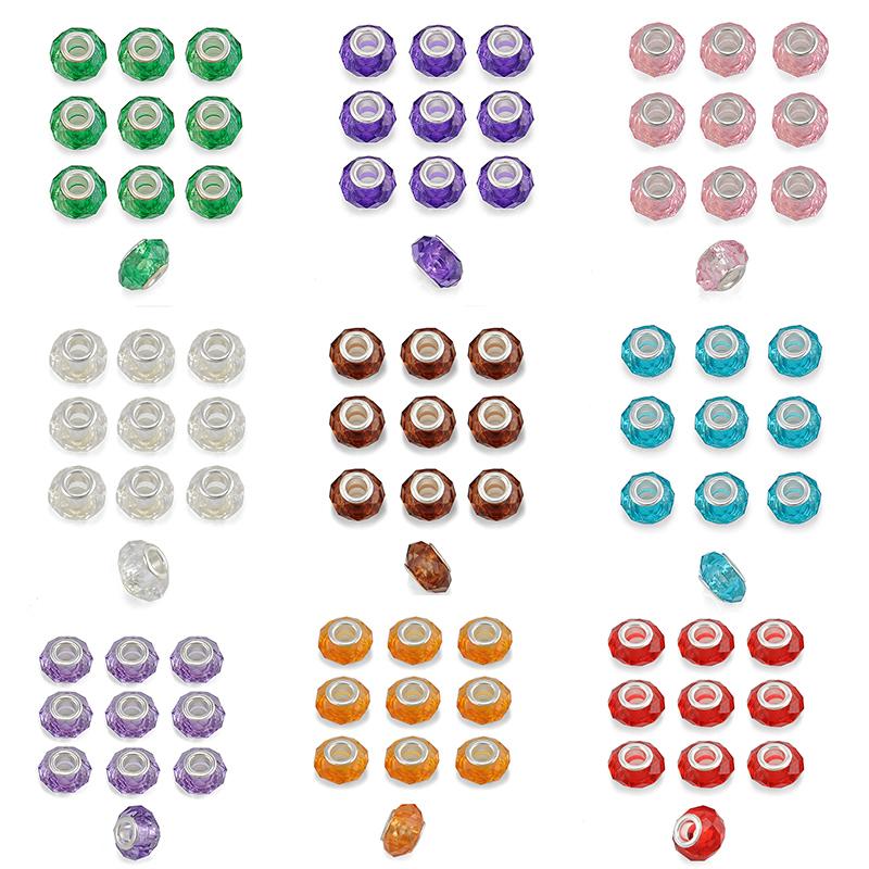10 PCS Wholesale Plastic Sliver+Plated Diy Colorful Beads Fit Women PANDORA Bracelets Bangles Jewelry Accessories(China (Mainland))