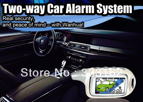 Freeshipping WH868-28 two way car alarm system set /CE,FCC approved,with 2pcs LCD remote engine starter, control distance 1000M